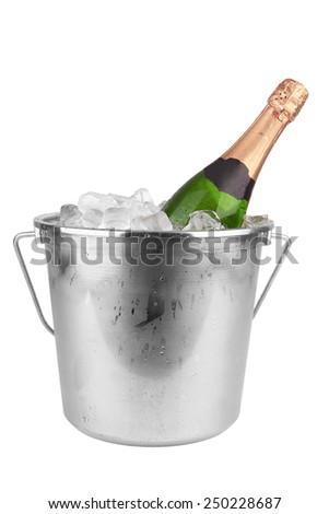 Champagne bottle in ice isolated on white background  - stock photo