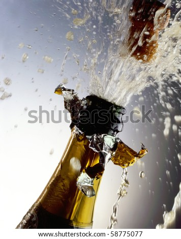 Champagne Bottle with cork shooting - stock photo