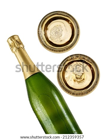 Champagne bottle with two glasses, top view - stock photo