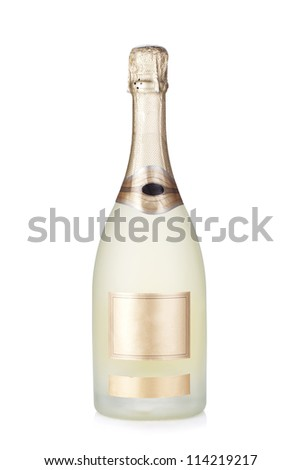 Champagne brut bottle. Isolated on white background - stock photo