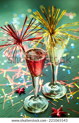 Champagne cocktail for  New Year and Christmas Celebration - stock photo