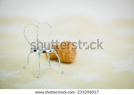 Champagne cork bistro chair close-up - stock photo