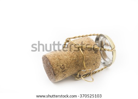 Champagne cork isolated on white - stock photo