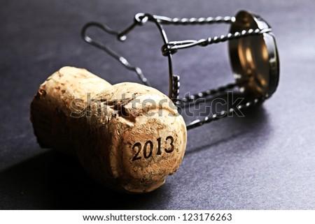 Champagne cork new year 2013. Macro image. - stock photo