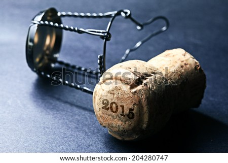 Champagne cork new year 2015. Macro image. - stock photo