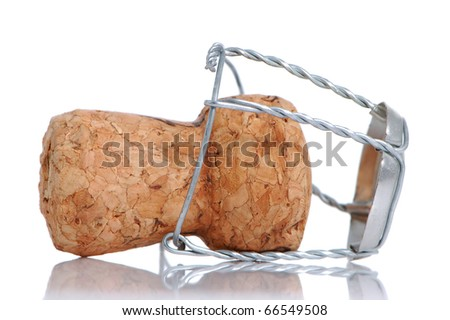 Champagne cork on a white background - stock photo