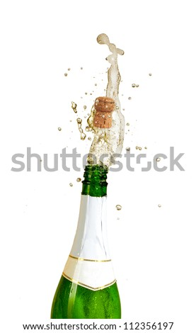Champagne explosion, isolated on white background - stock photo