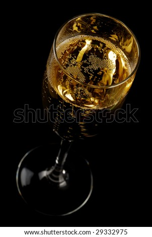 Champagne flue on black background. Tilted - stock photo
