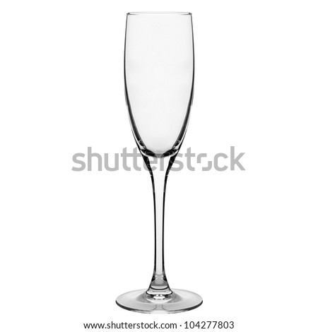 champagne glass clear isolated on white - stock photo