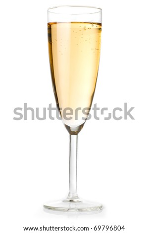champagne glass isolated on white - stock photo