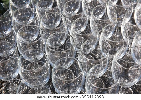 champagne glass pattern transparent empty glass goblets for wine,background Abstract - stock photo
