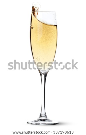 Champagne glass with splash. Isolated on white background - stock photo