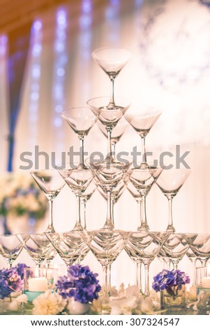 champagne glasses for celebrate wedding - stock photo