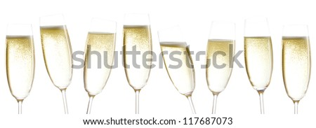 champagne glasses isolated before white background - stock photo
