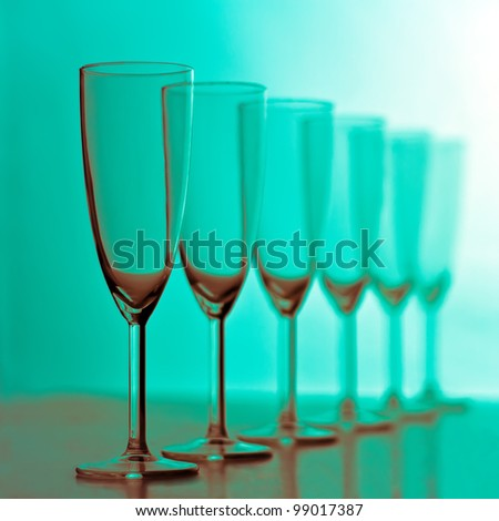 Champagne glasses. Toned image - stock photo