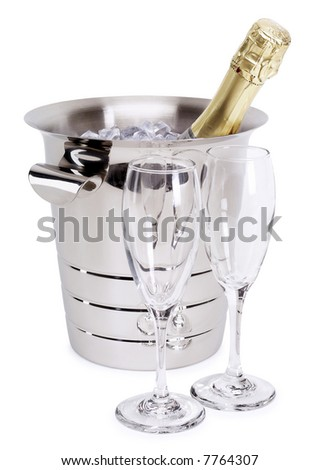 Champagne in a Bowl - isolated on white - stock photo