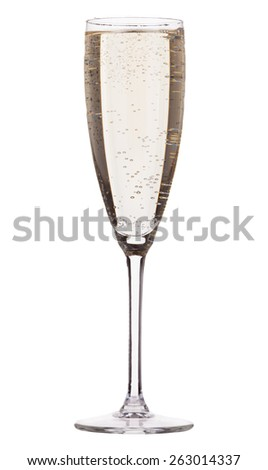 champagne in glass isolated on white background - stock photo