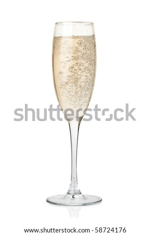 Champagne in glass. Isolated on white background - stock photo