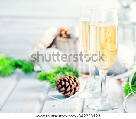 Champagne in glasses - stock photo