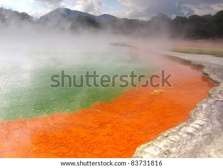 Champagne Pool at Wai-O-Tapu geothermal area in New Zealand - stock photo
