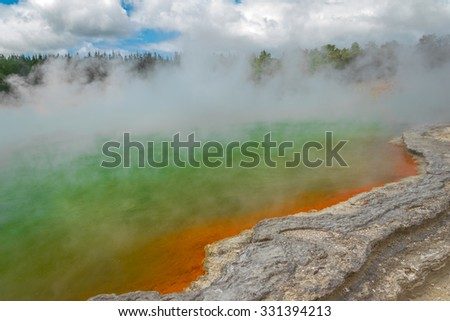 Champagne pool at Waiotapu geothermal park, New Zealand - stock photo