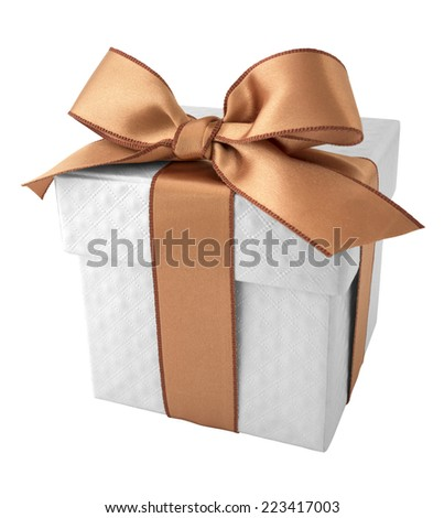 Champagne Ribbon with White Gift Box on white background - stock photo