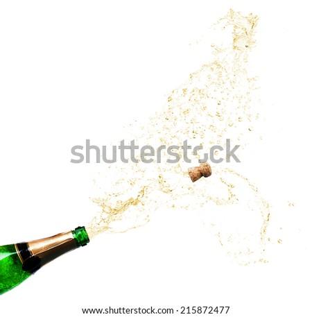 Champagne splashes isolated on white - stock photo