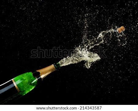 Champagne splashes on black background - stock photo