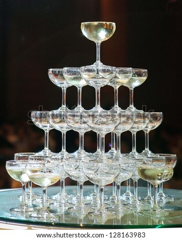 champagne tower - stock photo