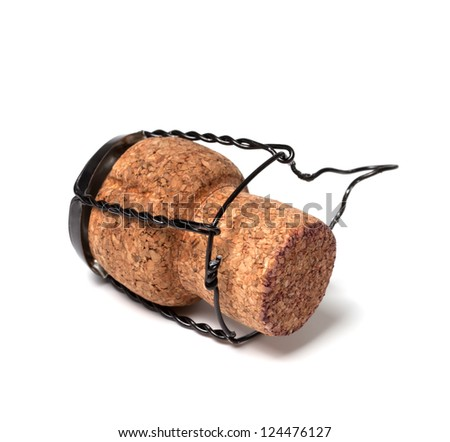 Champagne wine cork isolated on white background. Close-up view. - stock photo