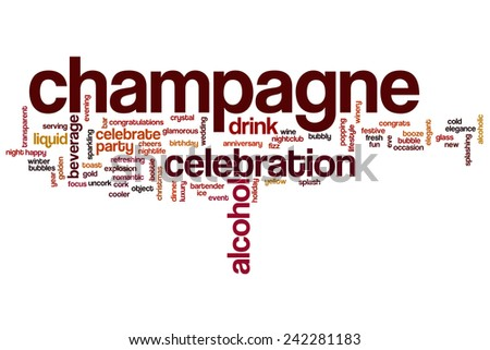 Champagne word cloud concept with alcohol drink related tags - stock photo