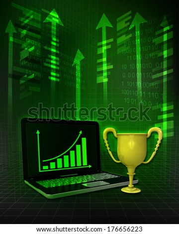 champion cup with positive online results in business illustration - stock photo