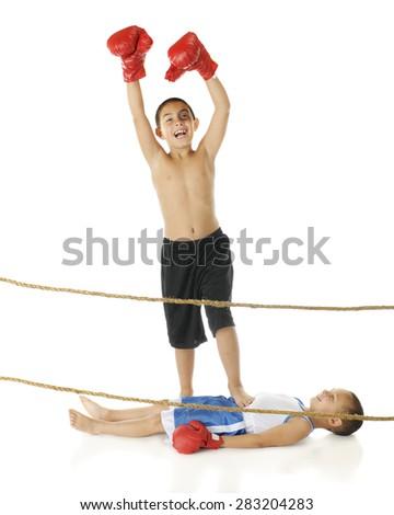 Champion Kid Boxer - stock photo