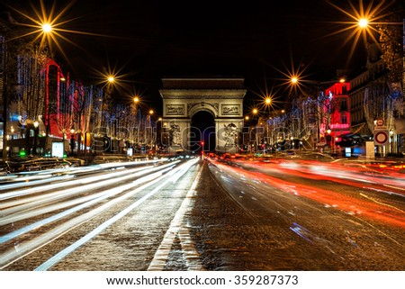 Champs Elysees in Paris illuminated for Christmas - stock photo