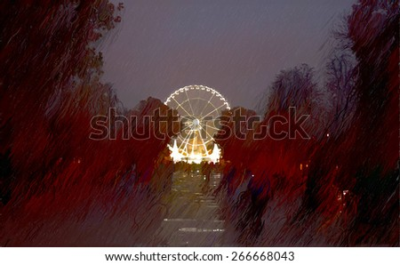 Champs Elysees night. beautiful places of Paris - stock photo