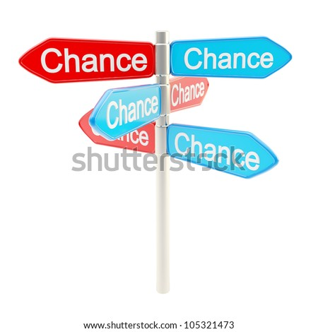 Chances are everywhere metaphor as roadsign sign post isolated on white - stock photo