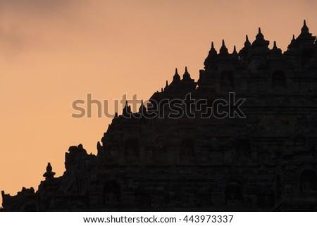 Chandi Borobudur, Mahayana Buddhist Temple in Magelang, Central Java, Indonesia  - stock photo