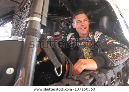 CHANDLER, AZ - OCT 26: Brian Deegan (38) on the grid in his Pro 2 Lucas Oil Off Road Series racing for a qualifying session on October 26, 2012 at Firebird International Raceway in Chandler, AZ. - stock photo
