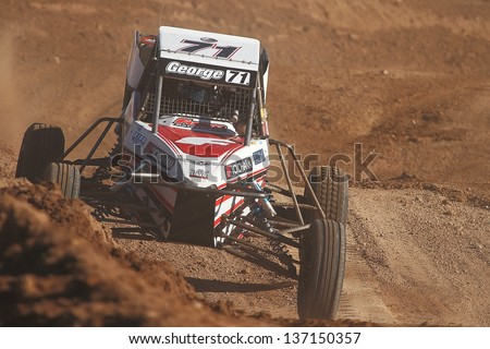 CHANDLER, AZ - OCT 26: Garett George (71) at speed in Pro Buggy Lucas Oil Off Road Series racing during a qualifying session on October 26, 2012 at Firebird International Raceway in Chandler, AZ. - stock photo