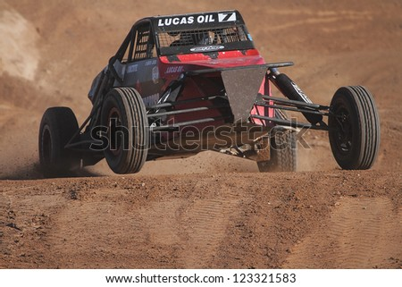 CHANDLER, AZ - OCT 26: Larry Job (7) at speed in Pro Buggy Lucas Oil Off Road Series racing during a qualifying session on October 26, 2012 at Firebird International Raceway in Chandler, AZ. - stock photo
