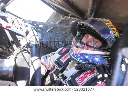 CHANDLER, AZ - OCT 26: Ryan Beat (46) on the grid in his Pro 4 Unlimited Lucas Oil Off Road Series racing for qualifying on October 26, 2012 at Firebird International Raceway in Chandler, AZ. - stock photo