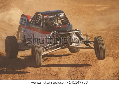 CHANDLER, AZ - OCT 26: Steven Greinke (23) at speed in Pro Buggy Lucas Oil Off Road Series racing during a qualifying session on October 26, 2012 at Firebird International Raceway in Chandler, AZ. - stock photo