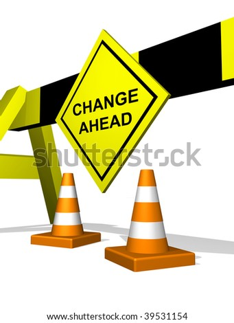 Change ahead traffic block featuring change management - stock photo