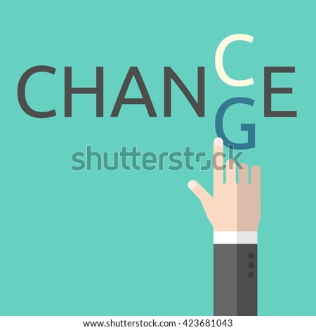 Change and chance. Hand changing letters C and G. Opportunity, evolution, solution, decision, courage, business success and positive thinking - stock photo
