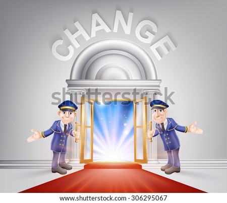 Change Door concept of a doormen holding open a red carpet entrance to change with light streaming through it. - stock photo