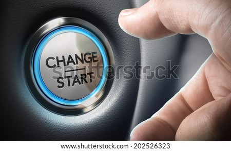 Change start button on a black dashboard background - Conceptual 3D render image with depth of field blur effect dedicated to motivation purpose.  - stock photo