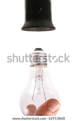 change the light bulb - stock photo