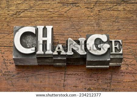 change word in mixed vintage metal type printing blocks over grunge wood - stock photo