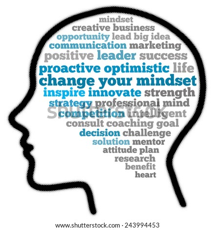 Change your mindset in word collage - stock photo