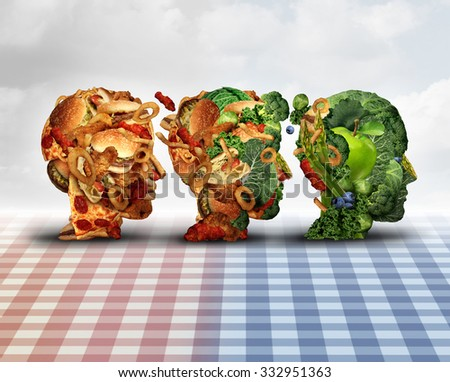Changing diet healthy lifestyle achievement concept dieting progress as a lifestyle improvement symbol and evolving from unhealthy junk food to fresh fruits and vegetables shaped as a human head. - stock photo